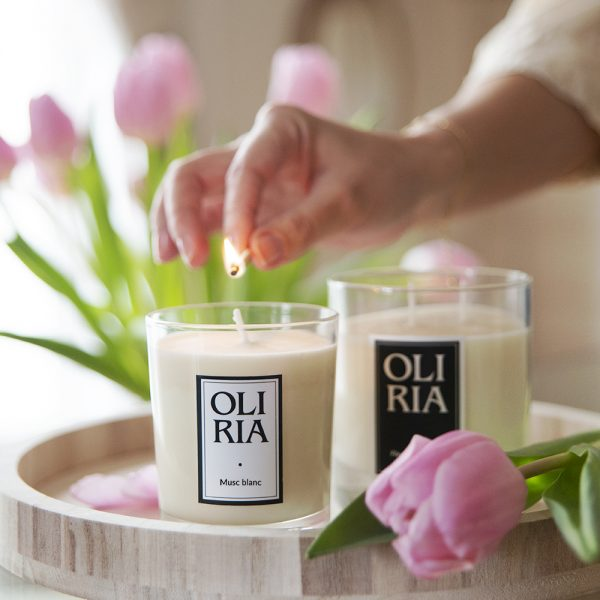 bougie parfumée Oliria musc blanc