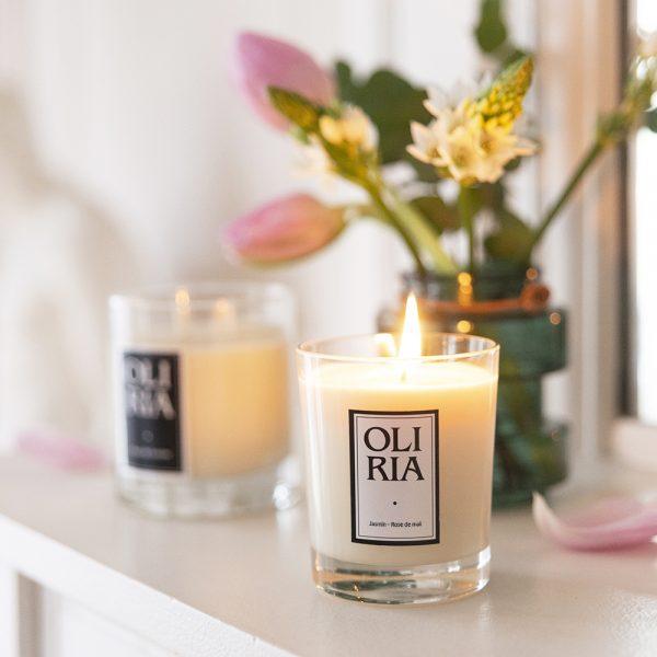 bougie parfumée Oliria jasmin-rose de mai